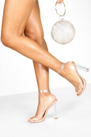 Rose gold Clear 2 Part Heel Sandals
