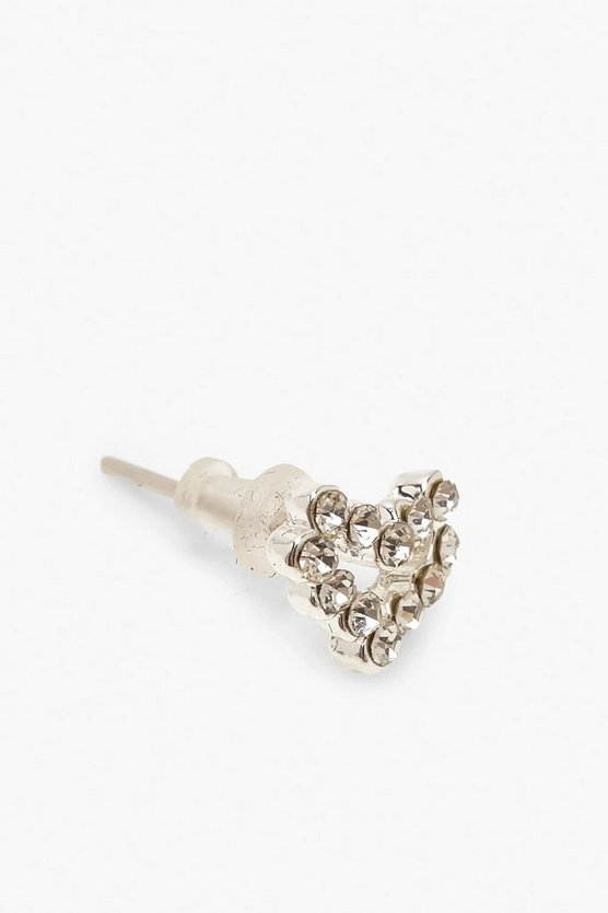 Diamante Open Heart Stud Earrings