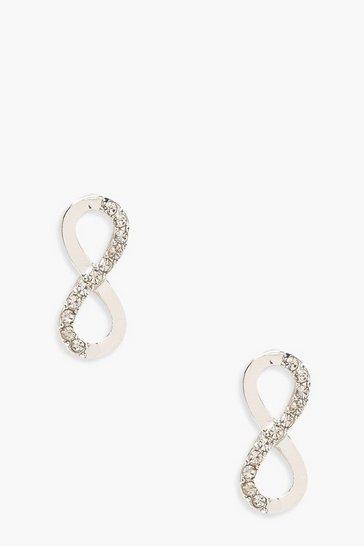 Womens Silver Diamante Infinity Stud Earrings