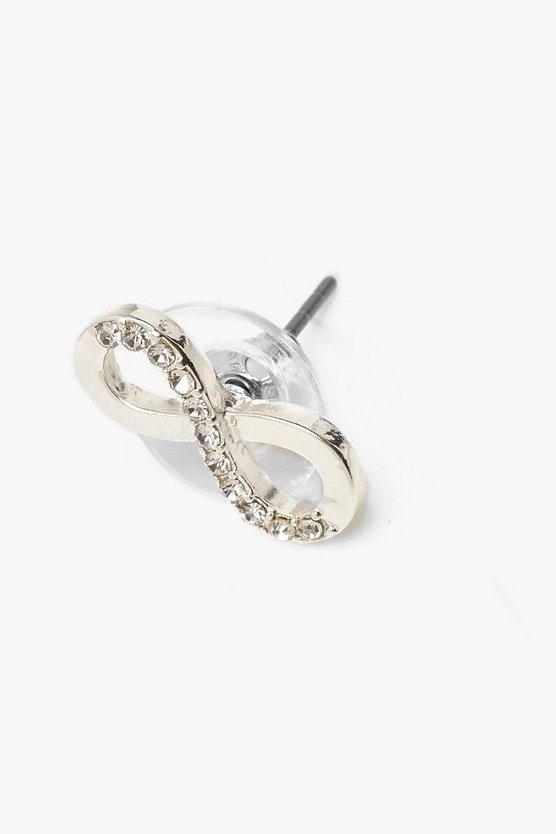 Diamante Infinity Stud Earrings