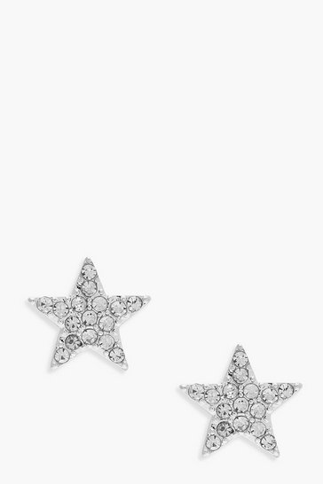 Womens Silver Diamante Star Stud Earrings
