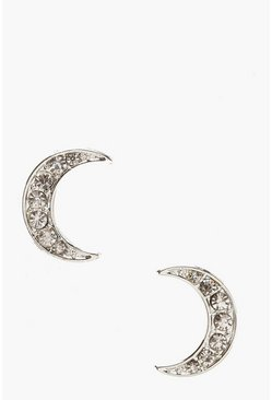 Womens Silver Diamante Moon Stud Earrings