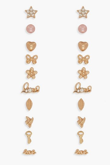 Womens Gold Mixed Shape & Slogan Stud 10 Pack