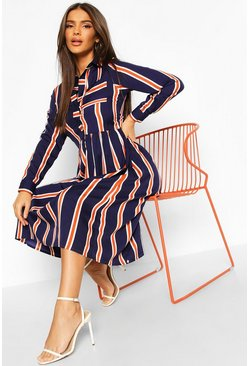 Navy Stripe Shirt Midi Dress