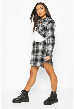 Black Oversized Check Shirt Dress