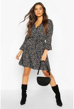 Black Spot Wrap Ruffle Hem Skater Dress