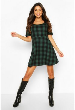 Green Check Skater Dress