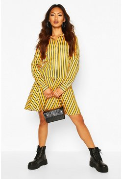 Mustard Stripe Button Through Frill Hem Shirt Dress