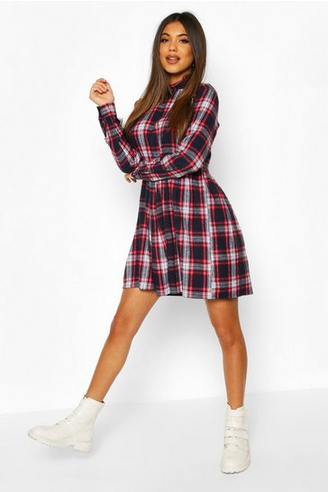 Navy Check High Neck Long Sleeve Smock Dress