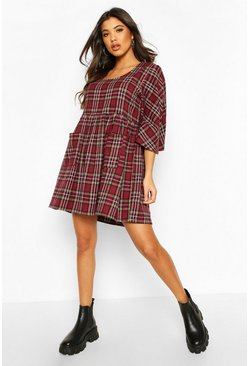Burgundy Oversized Check Pocket Detail Smock