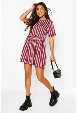 Burgundy Stripe Crew Neck Smock Dress