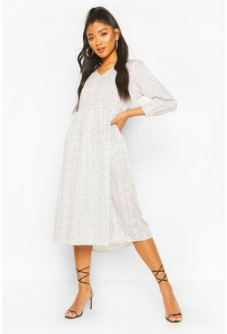 White Spotty V Neck Smock Midi Dress