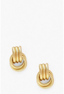 Womens Gold Ring Detail Earrings