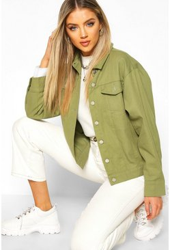 Womens Khaki Oversized Utility Jacket