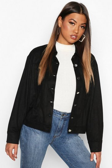 Womens Black Oversized Suedette Utility Jacket