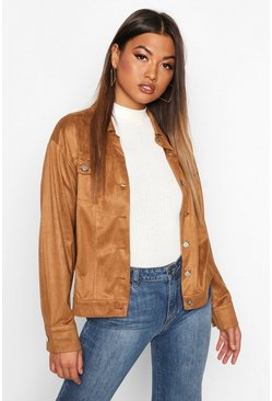Tan Oversized Suedette Utility Jacket