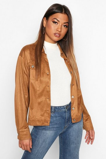 Womens Tan Oversized Suedette Utility Jacket