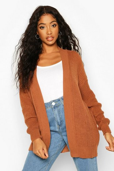 Womens Toffee Oversized Boxy Cardigan