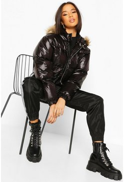 Dam Black Faux Fur Trim Crop Puffer Jacket
