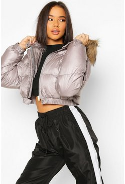 Grey Faux Fur Trim Crop Puffer Jacket