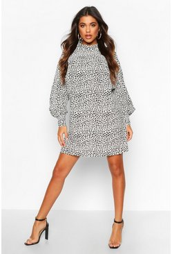 Womens White Polka Dot High Neck Dress