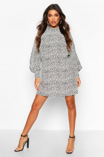 White Polka Dot High Neck Dress