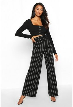 Womens Black Pinstripe Wide Leg Trouser