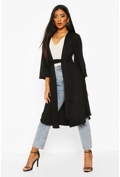 Womens Black Belted Duster Coat
