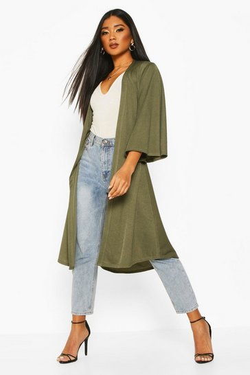 Womens Khaki Belted Duster Coat