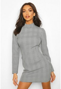 Womens Black Check High Neck Dress