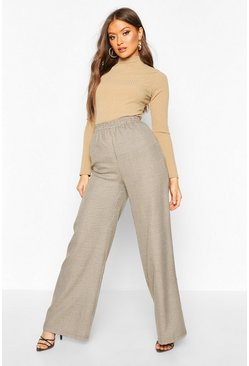 Brown Dogtooth Check Wide Leg Trouser