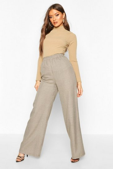 Womens Brown Dogtooth Check Wide Leg Trouser
