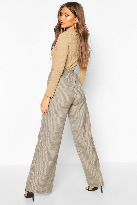 Dogtooth Check Wide Leg Trouser