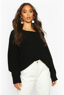 Black Batwing Oversized Jumper