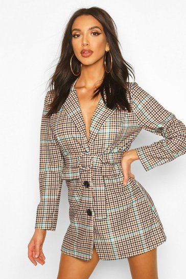 Chocolate Check Belted Blazer Dress