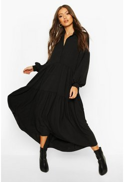 Womens Black Oversized Tiered Maxi Shirt Dress