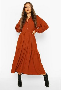 Womens Rust Oversized Tiered Maxi Shirt Dress