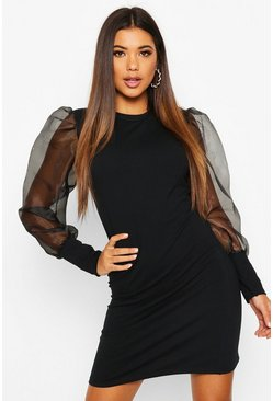 Womens Black Organza Sleeve Sweat Dress
