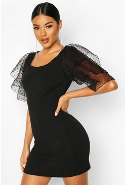 Womens Black Organza Sleeve Bodycon Dress
