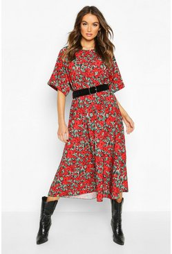 Womens Red Floral Batwing Sleeve Midaxi Dress