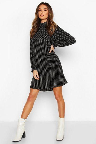 Womens Black Polka Dot Shirred Neck Shift Dress