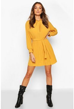 Womens Mustard Pleated High Neck Tie Waist Shift Dress