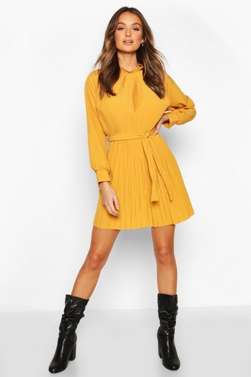 Mustard Pleated High Neck Tie Waist Shift Dress