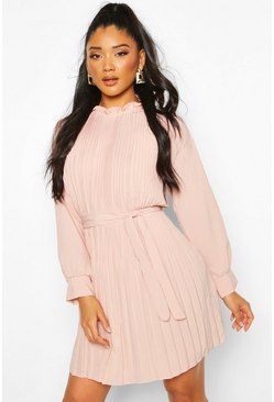 Rose Pleated High Neck Tie Waist Shift Dress