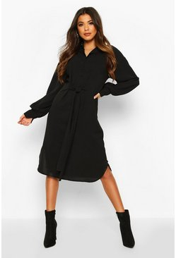Womens Black Oversized Blouson Sleeve Maxi Shirt Dress
