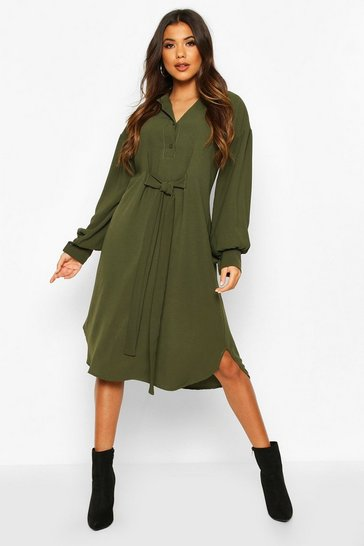 Womens Khaki Oversized Blouson Sleeve Maxi Shirt Dress