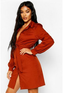 Womens Rust Woven D Ring Shirt Dress