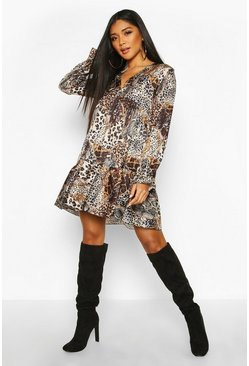 Womens Black Woven Chain Print Animal Smock Dress