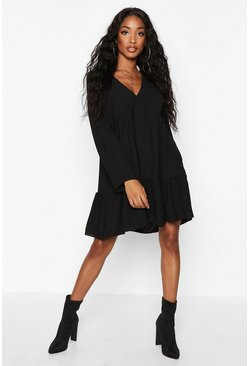Womens Black Woven V-neck Tierred Smock Dress