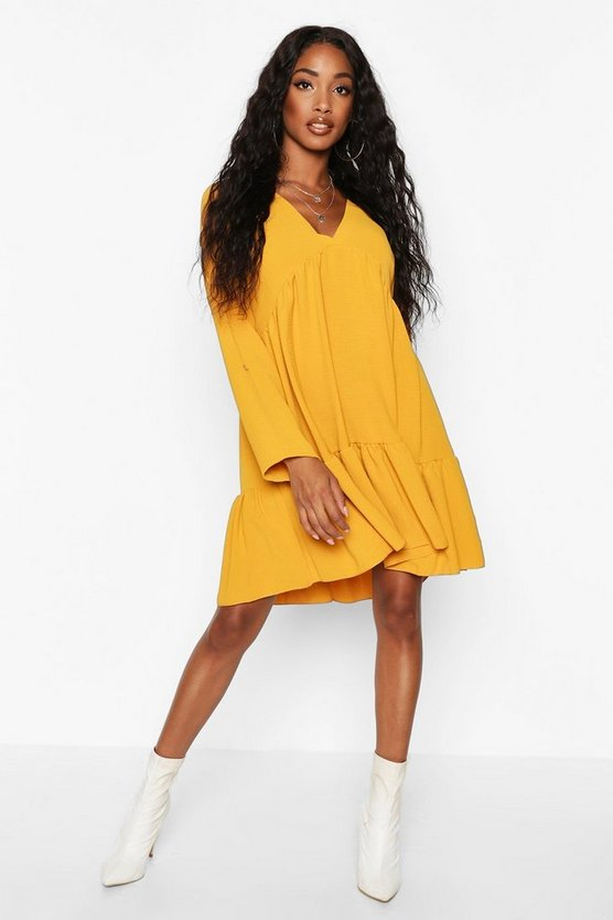Mustard Woven V-neck Tierred Smock Dress